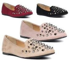 Ladies Womens Flats Casual Slip On Studs Loafers Faux Suede Pumps Shoes Size