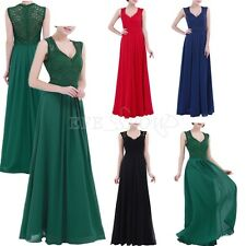 Womens Gown Lace Chiffon Long Dress Bridesmaid Evening Party Cocktail Maxi Dress