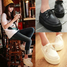 Casual Women Lady Lace Up Round Toe High Platform Flat Goth Punk Creeper Shoes