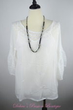 S-M-L-XL NEW URBAN MANGO Baby doll  Sheer Blouse Top with Cami Lining- White