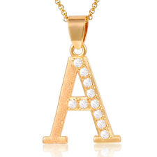 Womens Chain Gold Filled Pendant Necklace Initial Letter A-Z Paved Rhinestones