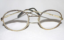 *Swarovski Crystal New Large Round Reading Glasses Champagne Gold Black Readers*