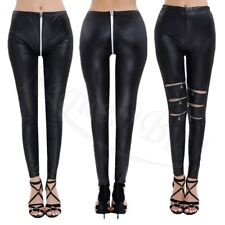 Wet Look Zippered Leather Leggings Black Skinny Leggings Women PU Pants Trousers