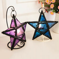 Colorful Glass Hanging Five-pointed Star Light Holder Lantern Bar Decor Loud