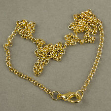 Wholesale 10strand/lot 3mm Gold Plated 60cm Chains Necklace&Lobster Diy Findings