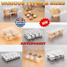 CUPCAKE MUFFIN CLEAR  PLASTIC HINGED TAKE-OUT COMPARTMENT DOME CONTAINERS BOX