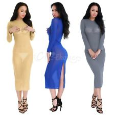 Women's Sexy Mesh Sheer Bodycon Evening Party Cocktail Night Club Casual Dress