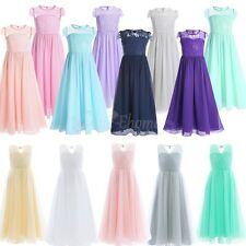 Flower Girl Dress Lace Chiffon Princess Party Pageant Wedding Bridesmaid Dress