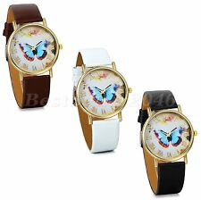 Womens Fashion Butterfly Style Leather Band Lady Girl Analog Quartz Wrist Watch
