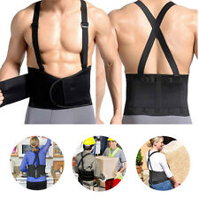 Heavy Weight lifting Back Waist Support Belt Shoulder Straps Pain Relief S-3XL