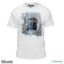 Doctor Who and The Daleks Tardis Official Licensed Men's White Tee T-shirt