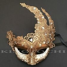 Venetian Gold Accent Eye & Masquerade Brocade Halloween Costume Mask