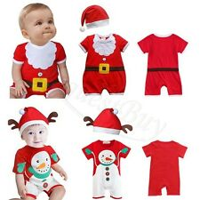 Baby Boys/Girls Cotton Christmas Santa Romper Hat Outfits Set 6-18m One Piece