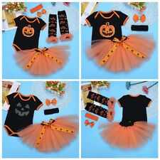 Infant Baby Girls Halloween Cosplay Pumpkin Romper Tutu Skirt Outfits Costumes