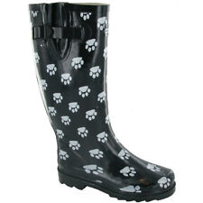 Cotswold Ladies Dog Paw Patterned Rubber Welly Wellington Boot Black