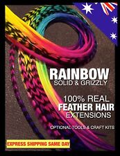 Feather Hair Extensions REAL Rainbow Feathers 8pc Grizzly Beads Tools Craft Kit