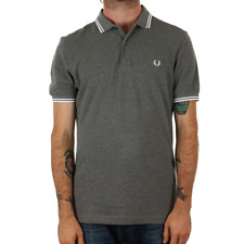 Fred Perry Twin Tipped Polo Shirt - Grey Marl / Snow White