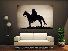 Wall Art Canvas Print Picture Wild West Cowboy Horse Silhouette Sunset-Unframed