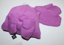 baby Gap New Purple Cotton Sweater Knit Hat & Mittens Set w/ Bow