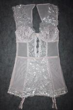 Victorias Secret Dream Angels Silver Metallic Pink Wicked Lace Mesh Garter Slip
