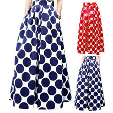 Vintage Style Womens Flared High Waist Skater Pleated A-Line Swing Skirt Dress