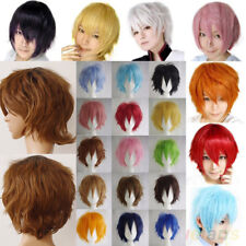 Vogue Anime Cosplay Short Wigs Full Wig Synthetic Wigs Black Brown Purple Pink c
