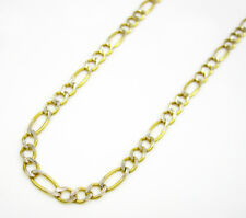 2.5MM Real 10K Yellow Gold Pave Diamond Cut Figaro Necklace Chain 16-22 Inches