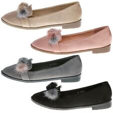 Colette Womens Low Heels Flats Loafers PomPom Fluffy Ladies Slip On Shoes Size