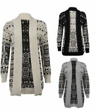 WOMENS KNITTED CARDIGAN LADIES OWL CROSS SNOWFLAKE PATTERN WINTER JUMPER CAPE