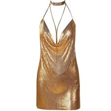 New Women Fashion Chainmaille Dress Sexy Party Deep V Neck Plunge Gold Silver