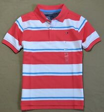 NWT BOYS TOMMY HILFIGER RED STRIPED SHORT SLEEVE RUGBY POLO T SHIRT SZ 4-20
