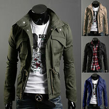 New Fashion Mens Zip Button Hooded Military Slim Fit Collar Jacket Long Coat