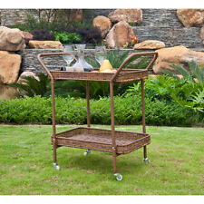 Wicker Patio Serving Cart Outdoor Garden Rolling Bar Yard Table Deck Furniture