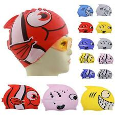 2017 Children's Swimming Cap New Cartoon Fish Silicon Waterproof Hat Protect Ear
