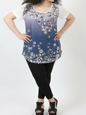 Womens plus size 26 28 30 32 34 36 top tee shirt style tunic purple / blue ombre