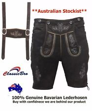 Lederhosen Oktoberfest Costume 100% Suede Leather German Bavarian Dark Brown
