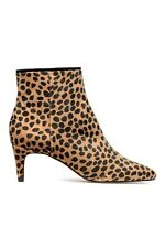*Sold Out!* H&M TREND Camel Leopard Print Faux Ponyskin Kitten Heel Ankle Boots