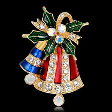 Multicolor Christmas Jingle Bells Rhinestone Brooch Pin Women Jewelry Precious