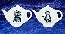 Scruffy cats or dogs teabag tidy. Flat teapot shaped teabag tidy with dogs/cats