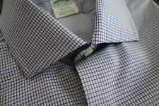 NWT Brooks Brothers Egyptian Cotton Blue Check Spread Collar Milano MSRP $185