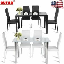 5PCS Modern Dining Table Set Kitchen Room House Decor Furniture 4 Chairs Set E1