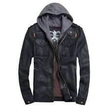 Mens PU Leather Jackets Hoodie Jacket For Mens Good Quality