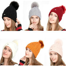 Women Ladies Winter Warm Fur Pom Pom Ball Bobble Knit Hat Crochet Beanie Ski Cap