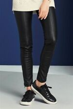 NEXT BLACK LEATHER LOOK LEGGINGS / SKINNY TROUSERS SIZE 12XL ANKLE ZIP CONCEALED