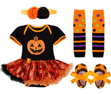 4PCS Baby Infant Girl Halloween Pumpkin Outfits Romper Tutu Skirt Party Costume