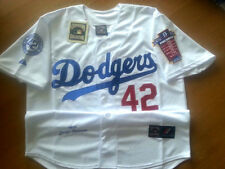 Brooklyn Dodgers IVORY Throwback #42 Jackie Robinson Majestic wPatch sewn Jersey
