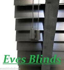 MADE TO MEASURE BLACK WOODEN 50mm VENETIAN BLIND WITH TAPES REAL WOOD