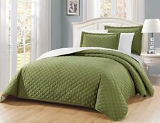 Fancy Linen 3pc Oversize Solid Sage Green Diamond Quilted Bedspread AllSize New