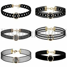 Women Punk Goth Emo Leather Lace O-Ring Collar Choker Funky Necklace Statement