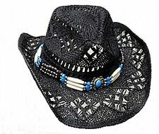 Straw Hat Cowboy Hat Cowboy Hat Hat with hatband Black